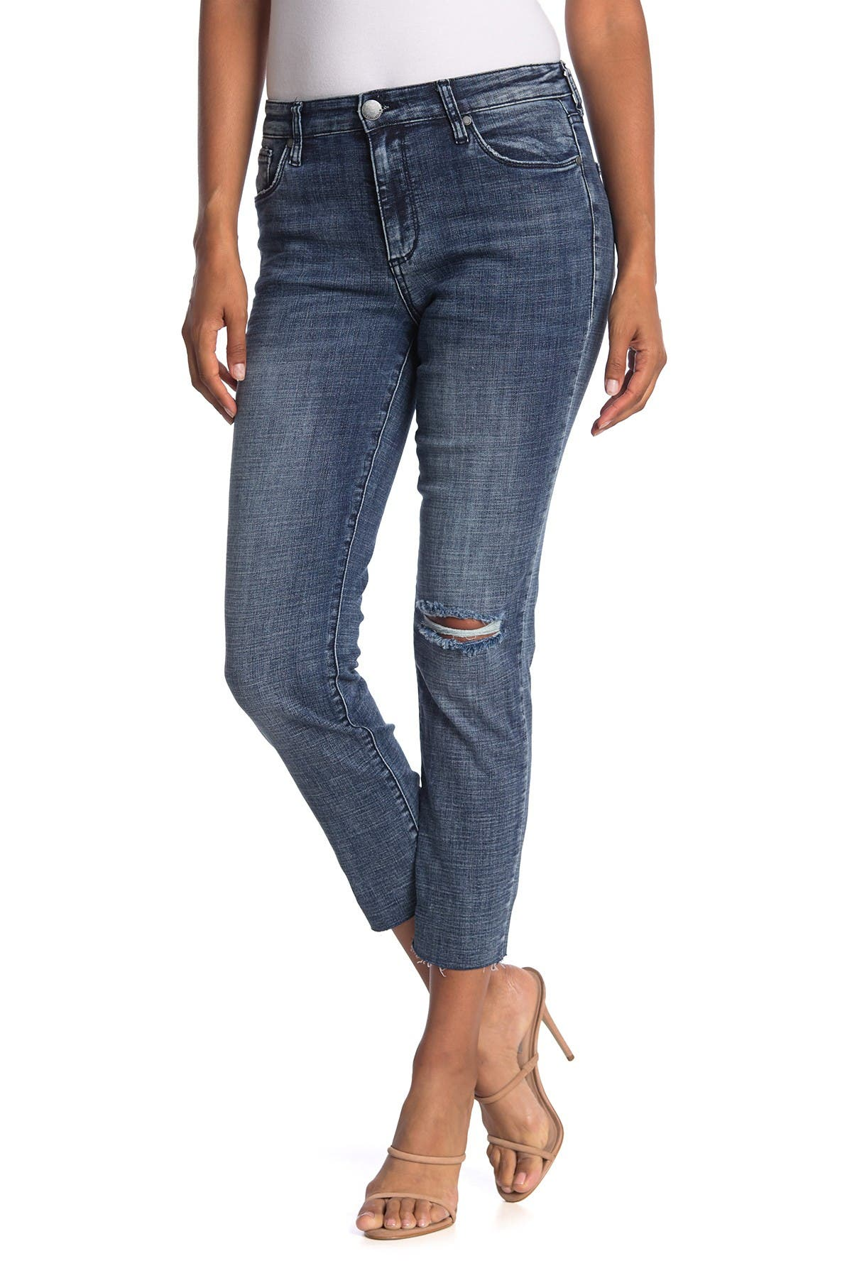 Image of STS BLUE High Rise Straight Leg Cut Off Ripped Jeans
