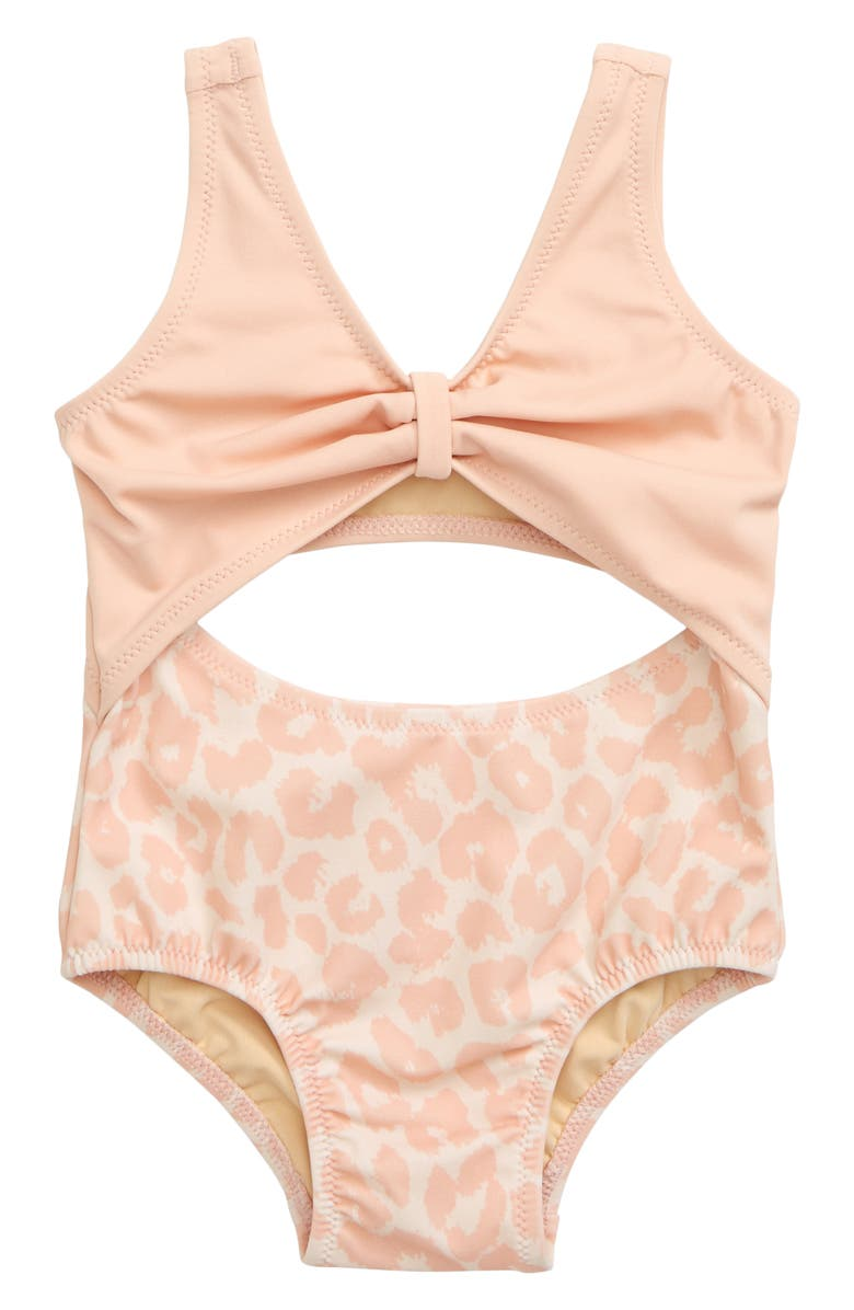 SOMETHING NAVY Open Front One-Piece Swimsuit, Main, color, PINK BLUSH LEOPARD
