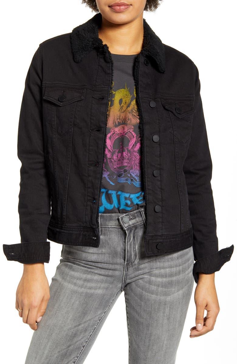 ARTICLES OF SOCIETY Liz Fleece Lined Denim Jacket, Main, color, RUSSEL