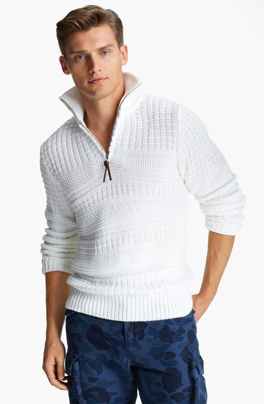 ,                             Quarter Zip Pullover Sweater,                             Main thumbnail 1, color,                             100
