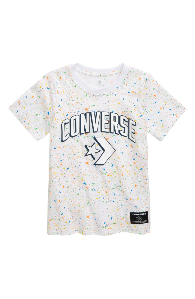 CONVERSE Paint Splatter Logo T-Shirt, Main, color, WHITE
