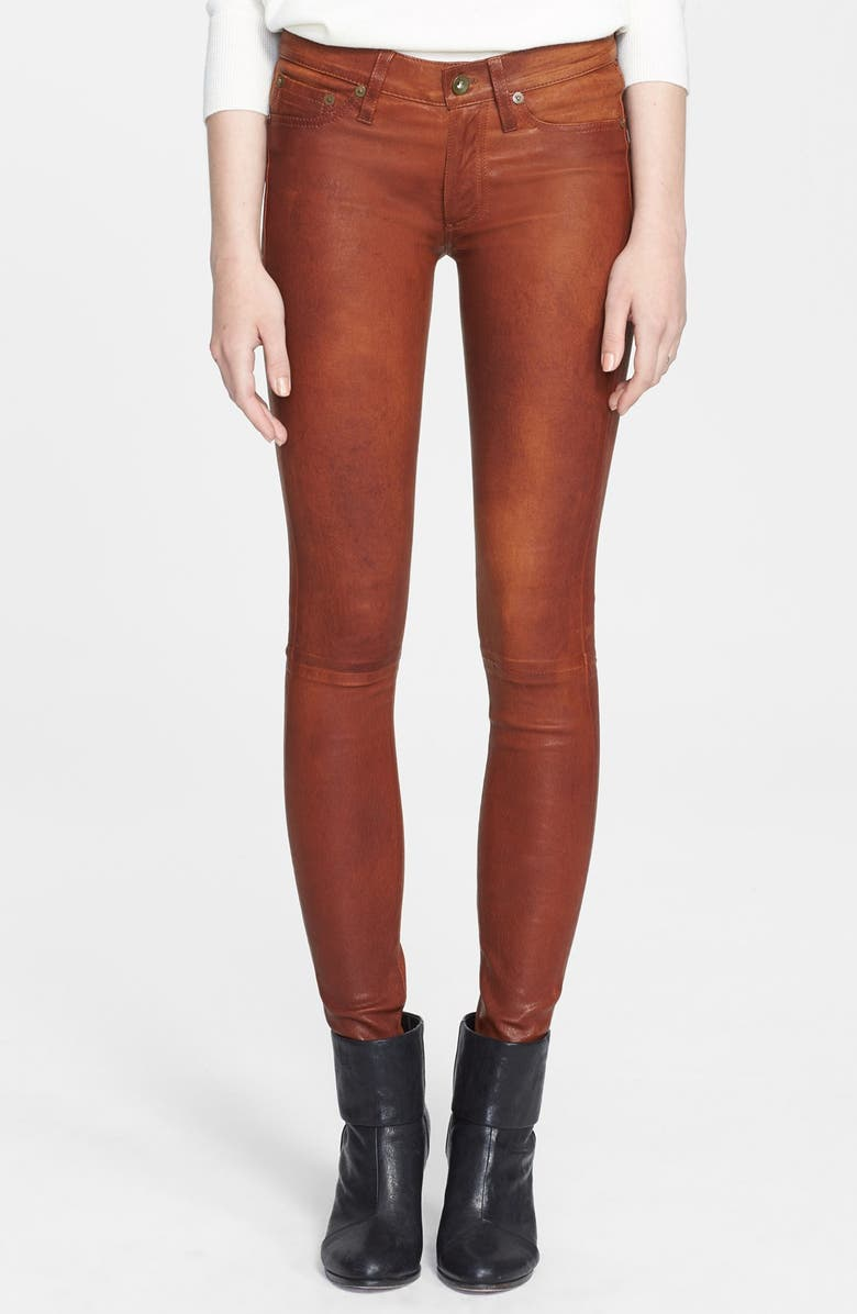 RAG & BONE/JEAN 'The Leather Skinny' Pants, Main, color, 204