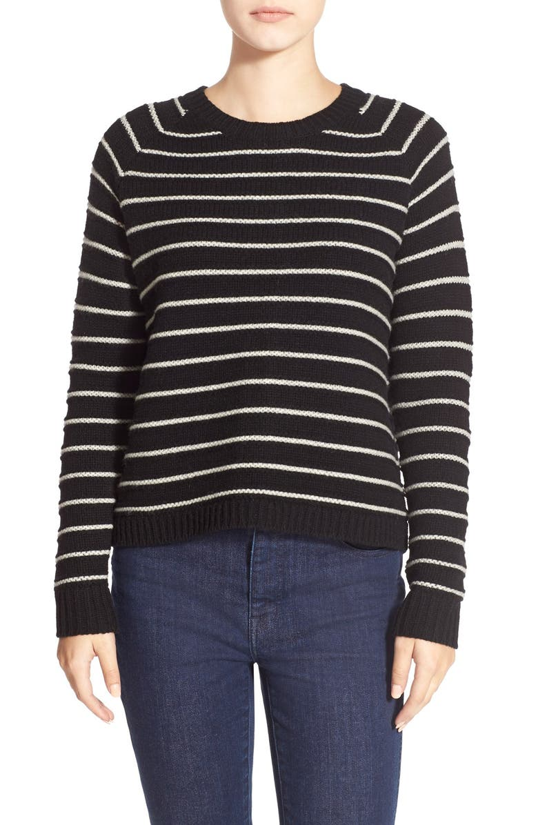 MADEWELL 'Palisade' Cable Stripe Back Zip Sweater, Main, color, 001