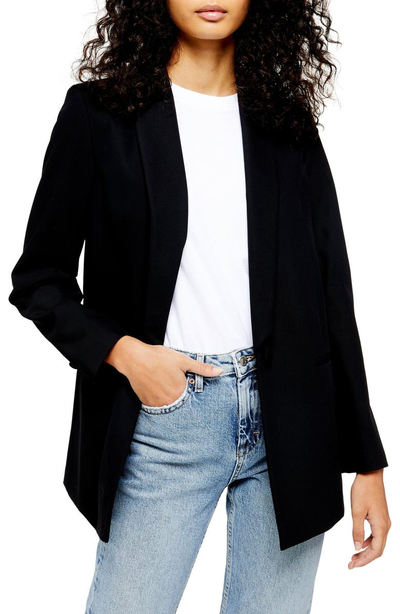 TOPSHOP Single Breasted Longline Blazer, Main, color, BLACK