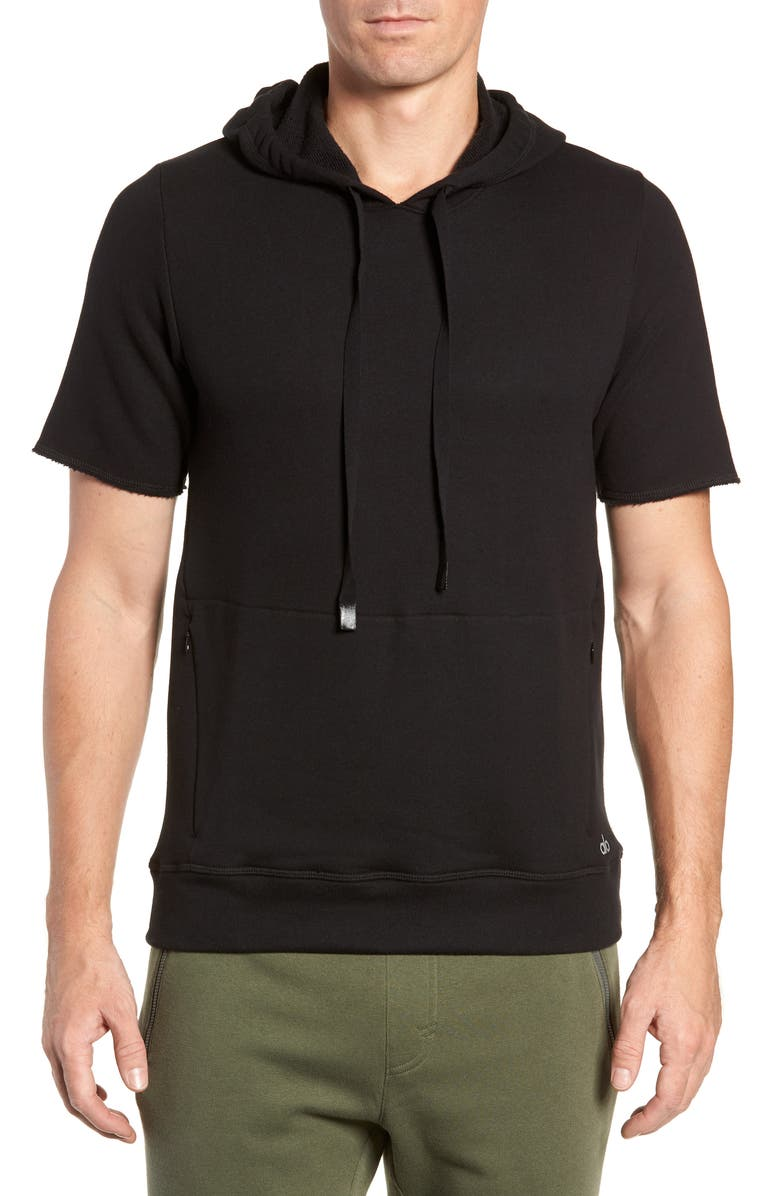 ALO Crow Short Sleeve Hoodie, Main, color, 001