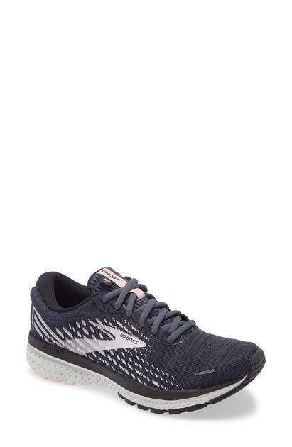 Brooks Ghost 13 Running Shoe In Ebony/ Blue/ Pink