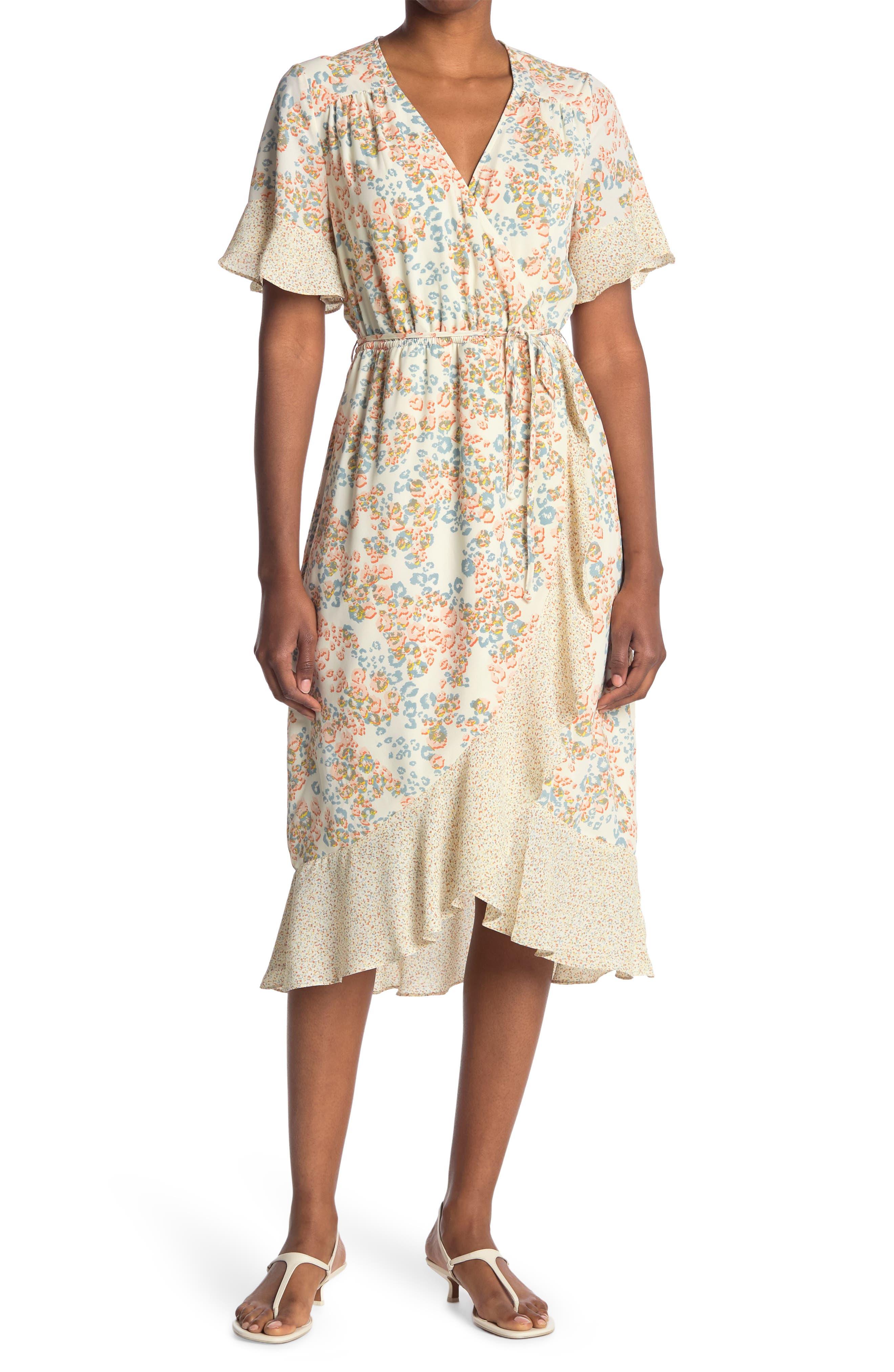 Image of DR2 by Daniel Rainn Twin Print Faux Wrap Midi Dress
