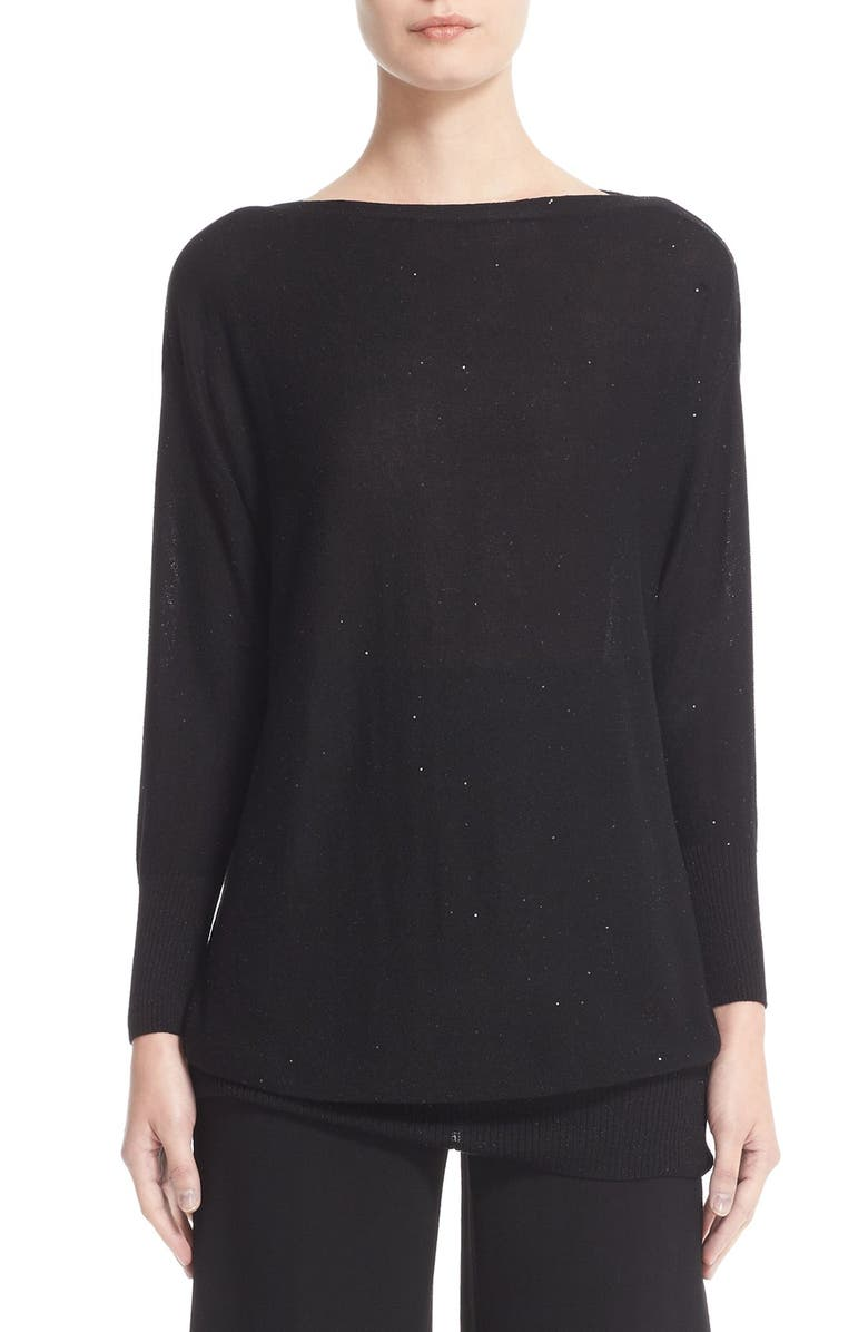 LELA ROSE Sequin Knit Silk Blend Sweater, Main, color, BLACK