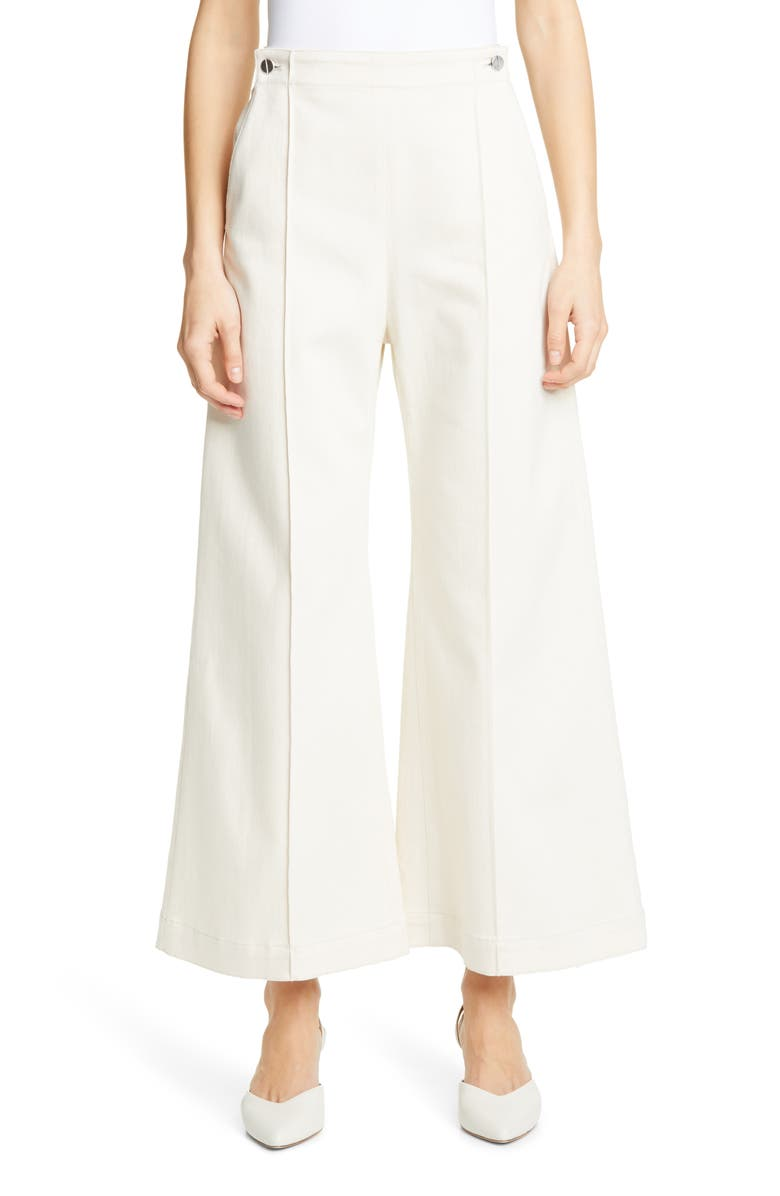 ROSETTA GETTY Pintucked Crop Flare Jeans, Main, color, NATURAL