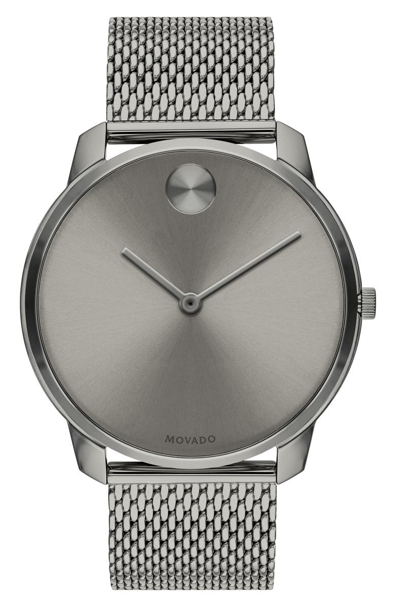 MOVADO Bold Mesh Bracelet Watch, 42mm, Main, color, GUNMETAL