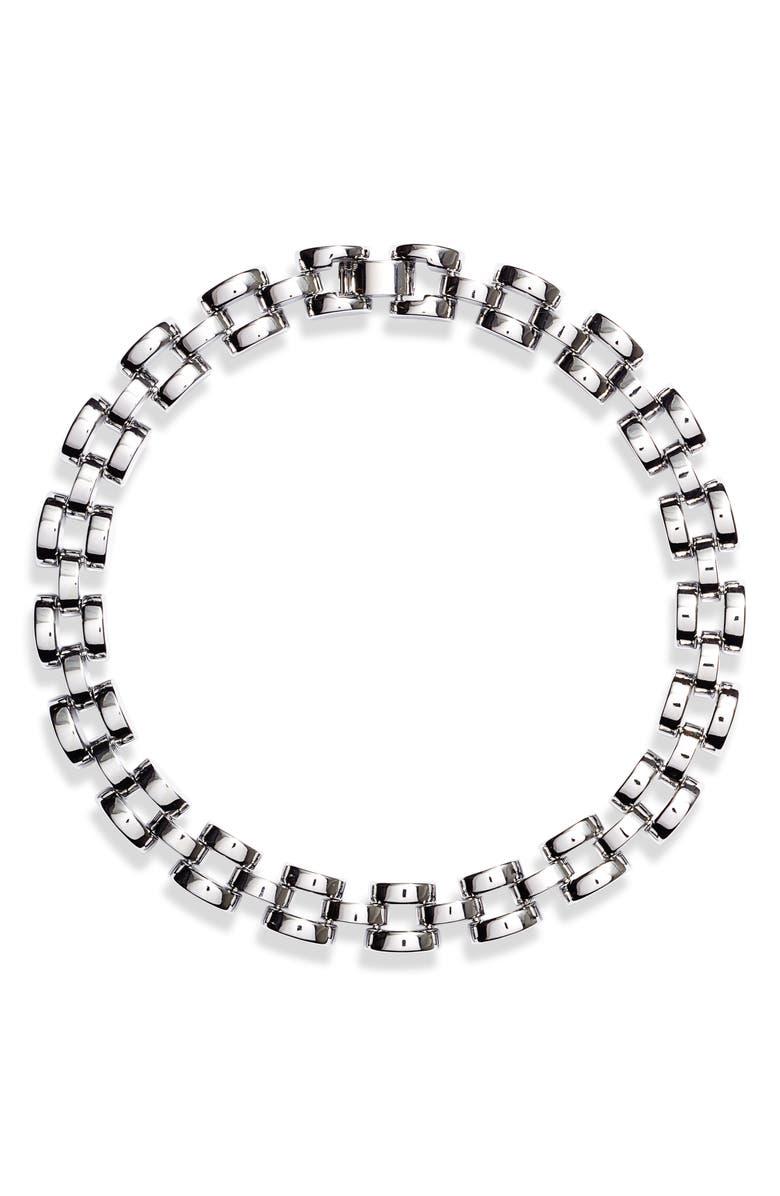 KATE SPADE NEW YORK sliced scallops collar necklace, Main, color, SILVER