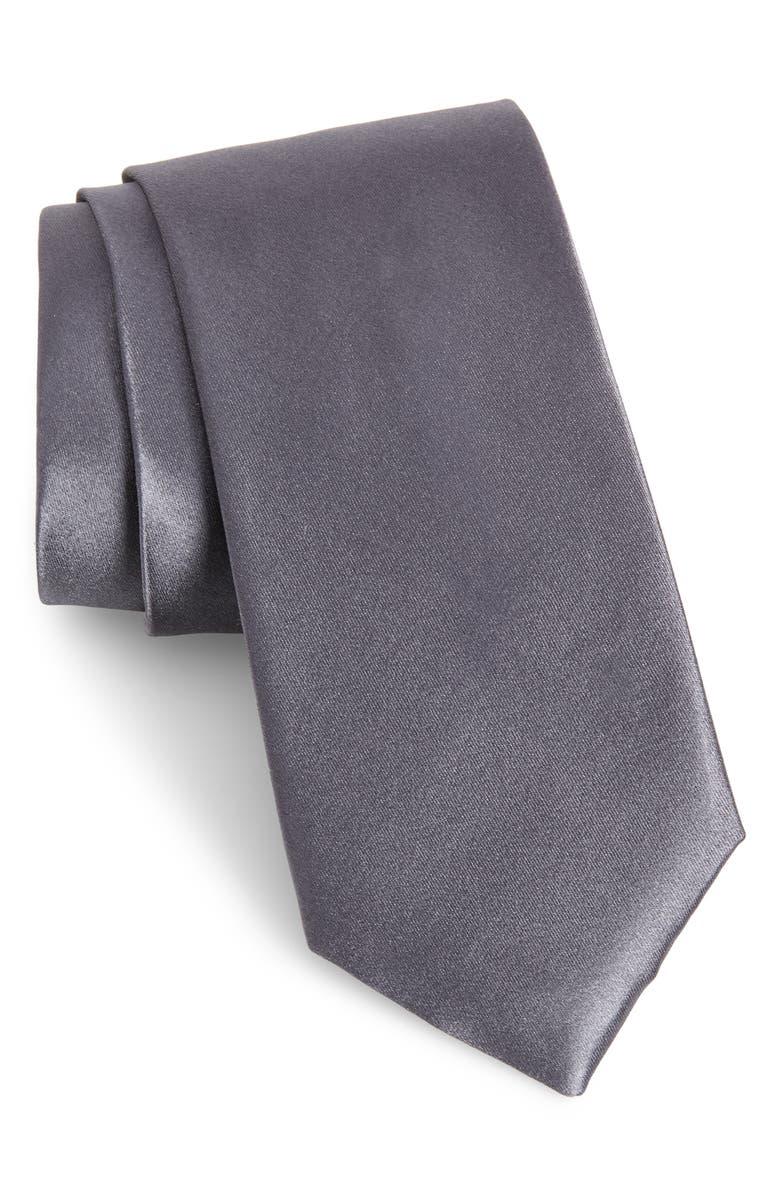 NORDSTROM MEN'S SHOP Solid Silk Tie, Main, color, GREY