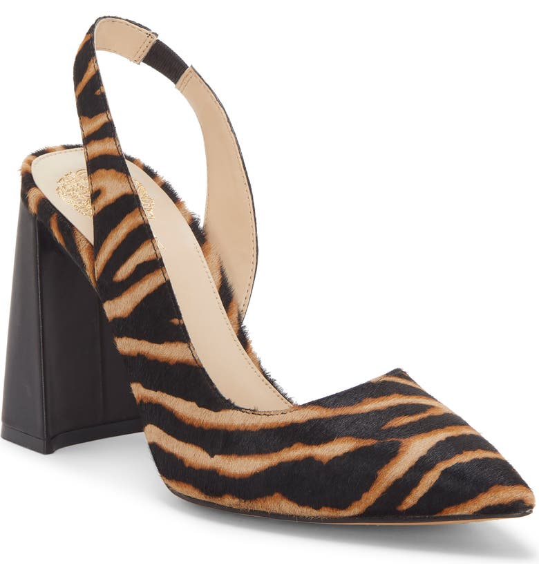 VINCE CAMUTO Analees Slingback Pump, Main, color, MULTI/ BLACK CALF HAIR