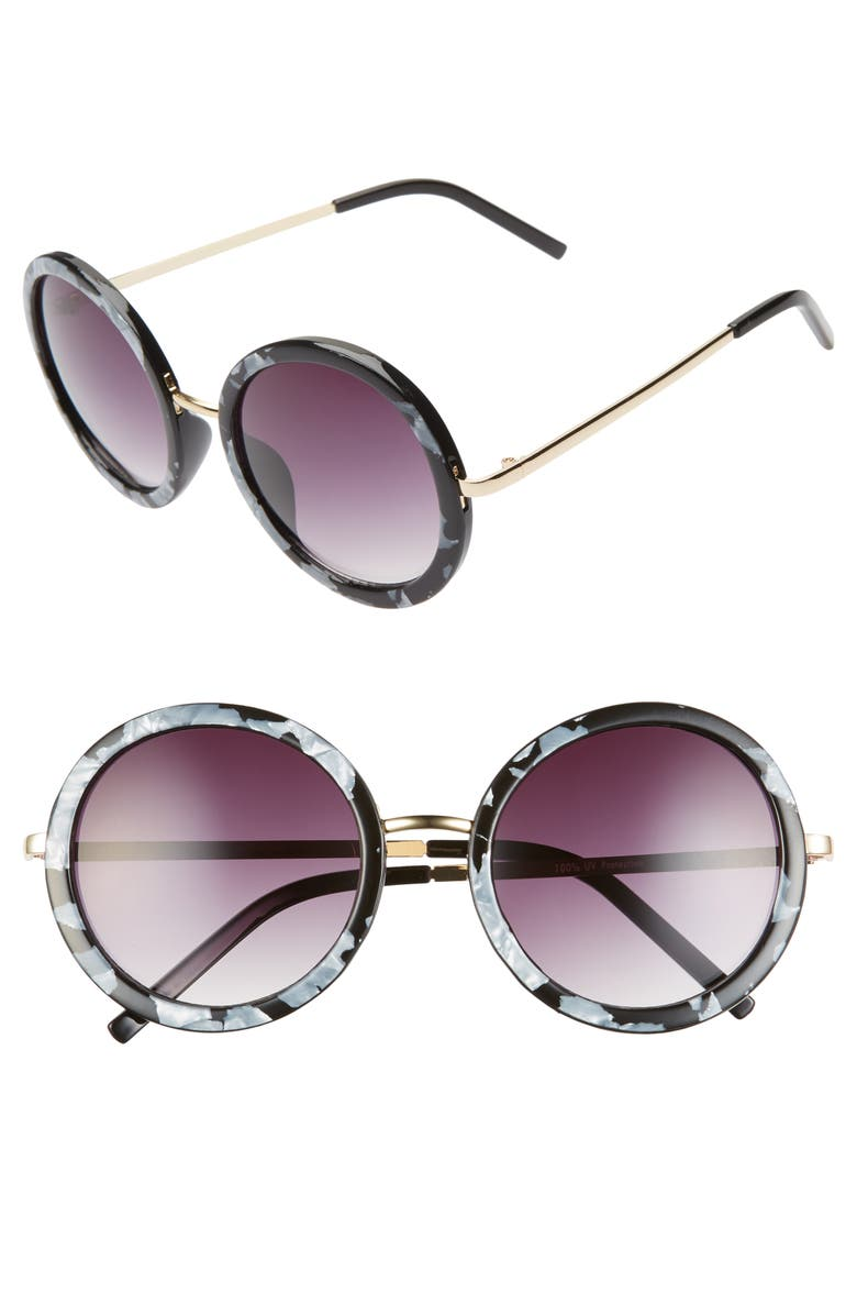 BP. 50mm Gradient Round Sunglasses, Main, color, BLACK
