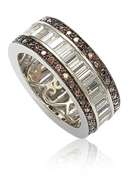 Image of Suzy Levian Sterling Silver Chocolate & White Baguette CZ Band