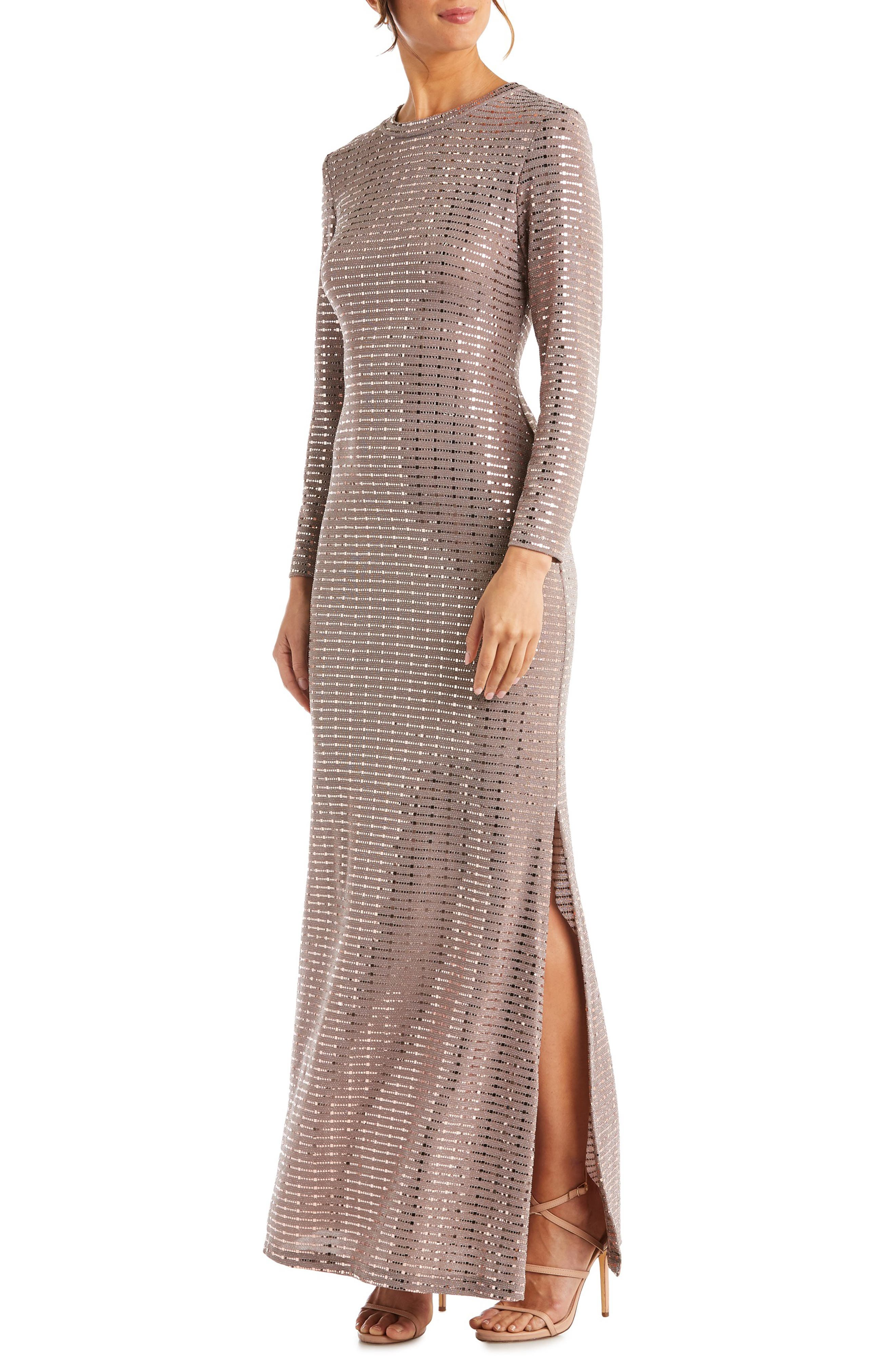 Morgan & Co. Long Sleeve Sequin Knit Gown