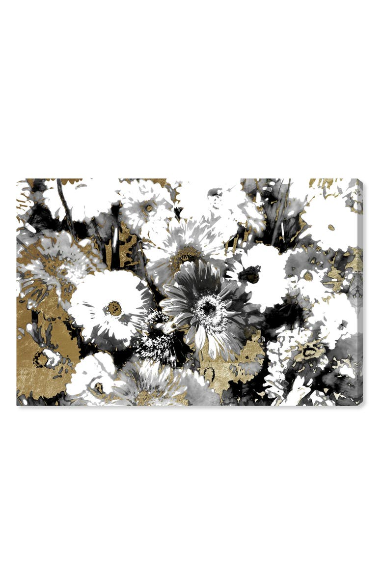 OLIVER GAL Golden Floral Canvas Wall Art, Main, color, BLACK WHITE GOLD