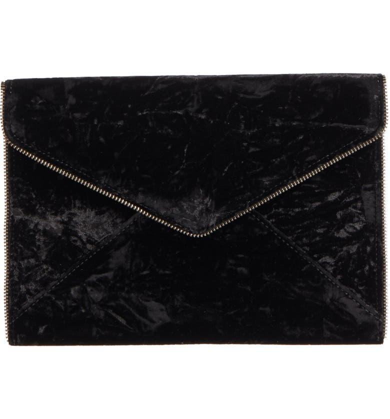 REBECCA MINKOFF Leo Velvet Envelope Clutch, Main, color, 001