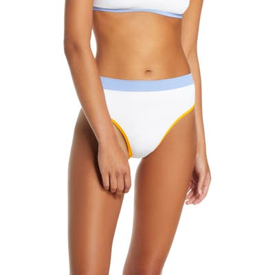 L Space French Cut High Waist Textured Swim Bottoms, White