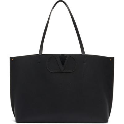 Valentino Garavani Large V-Logo Leather Tote - Black