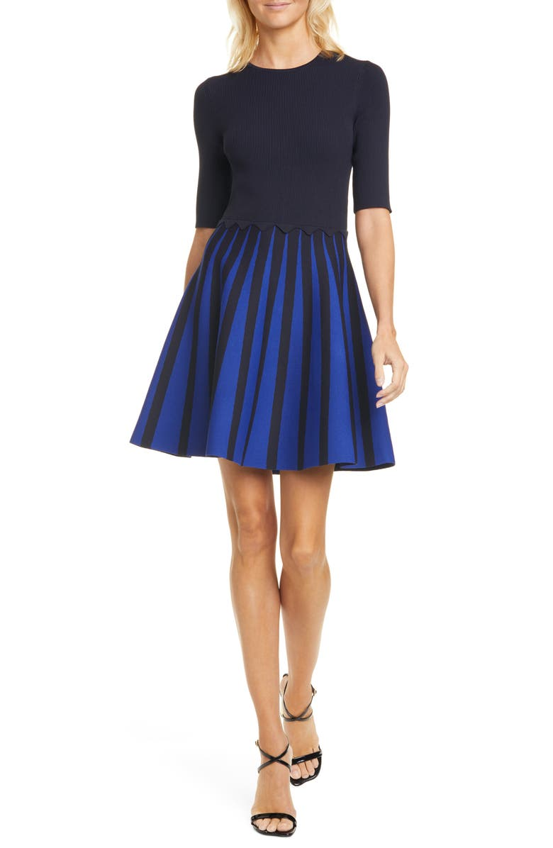 TED BAKER LONDON Salyee Short Sleeve Knit Skater Dress, Main, color, 402