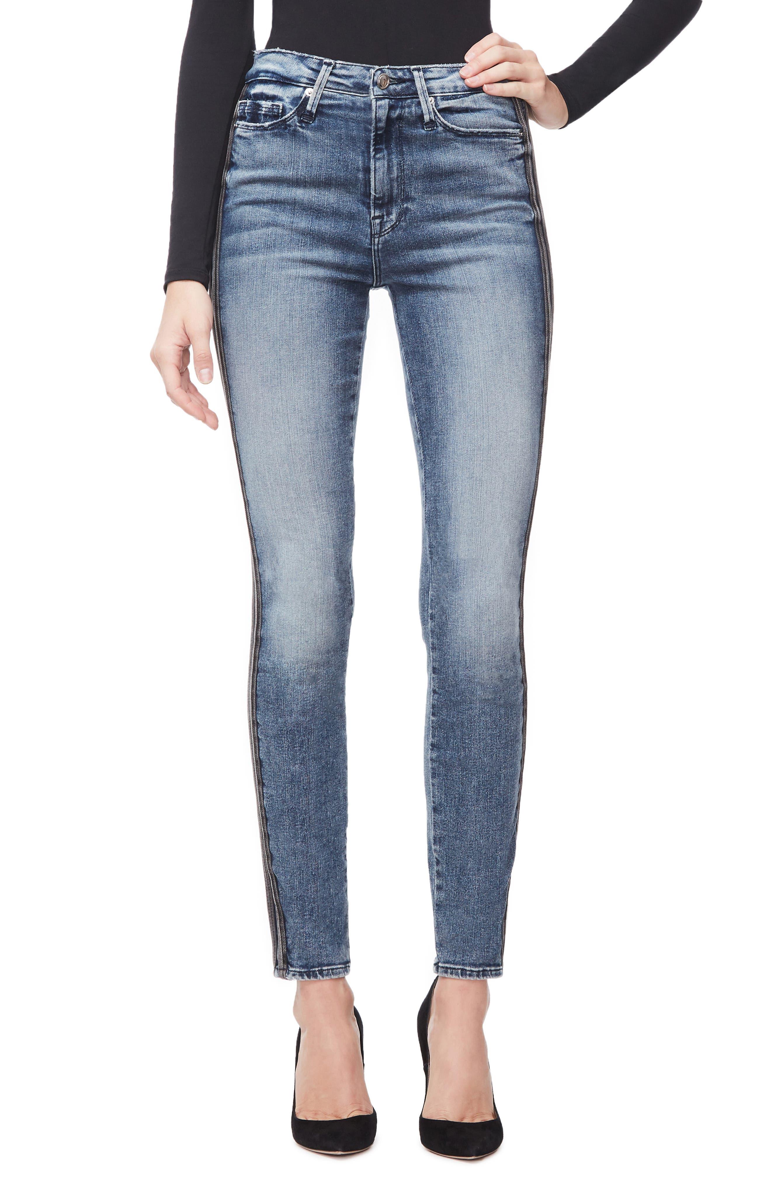 Good Waist Stripe Skinny Jeans, Main, color, BLUE241