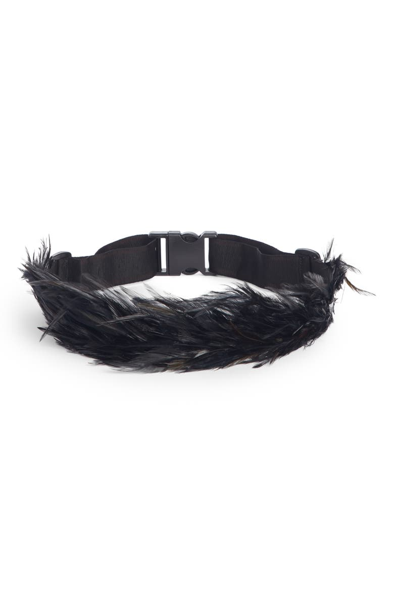 DRIES VAN NOTEN Silk Faille & Feather Belt, Main, color, 001