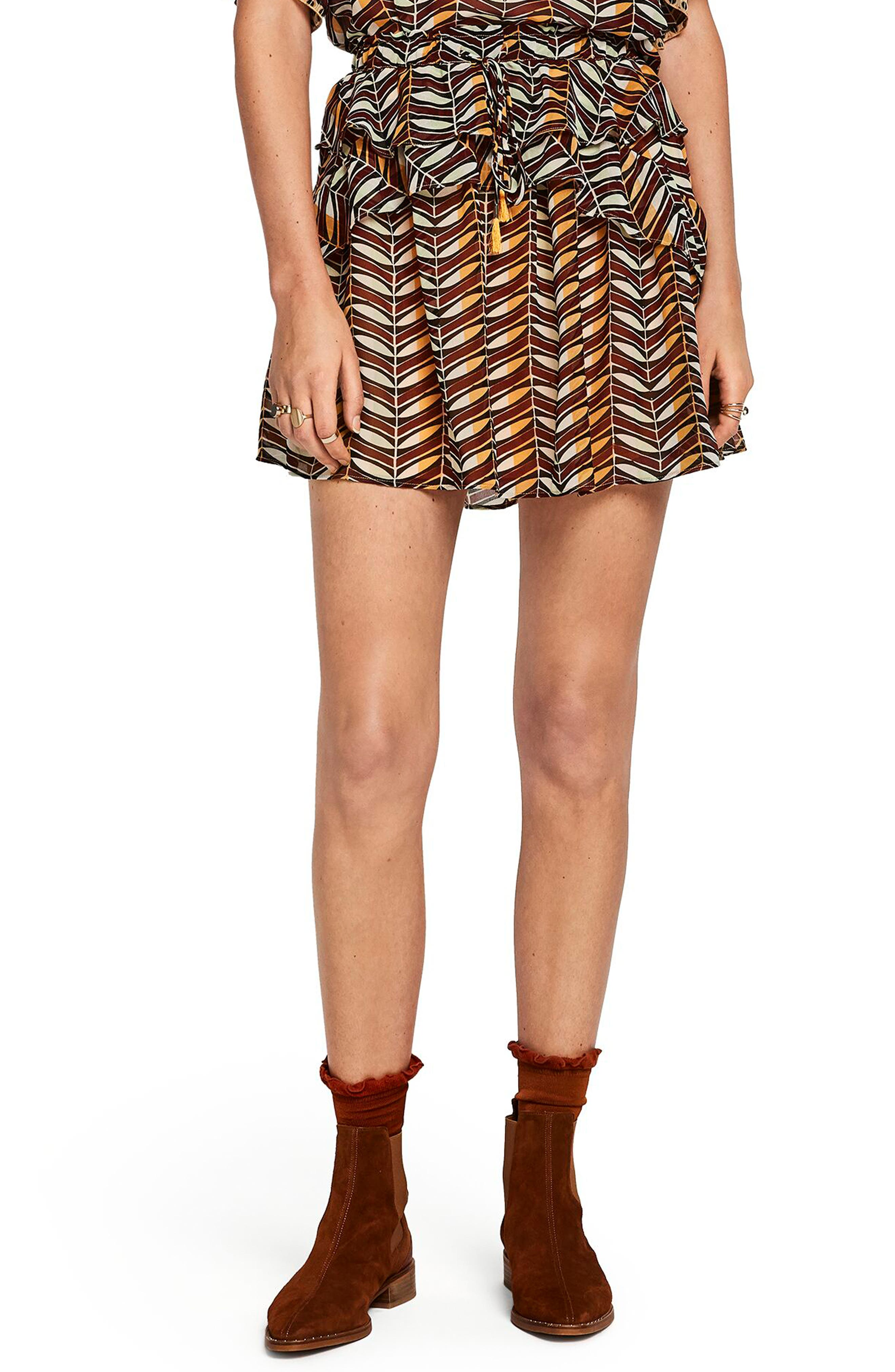 Scotch & Soda Print Ruffle Skirt, Black