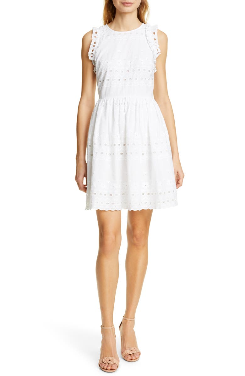 KATE SPADE NEW YORK eyelet fit & flare dress, Main, color, 107