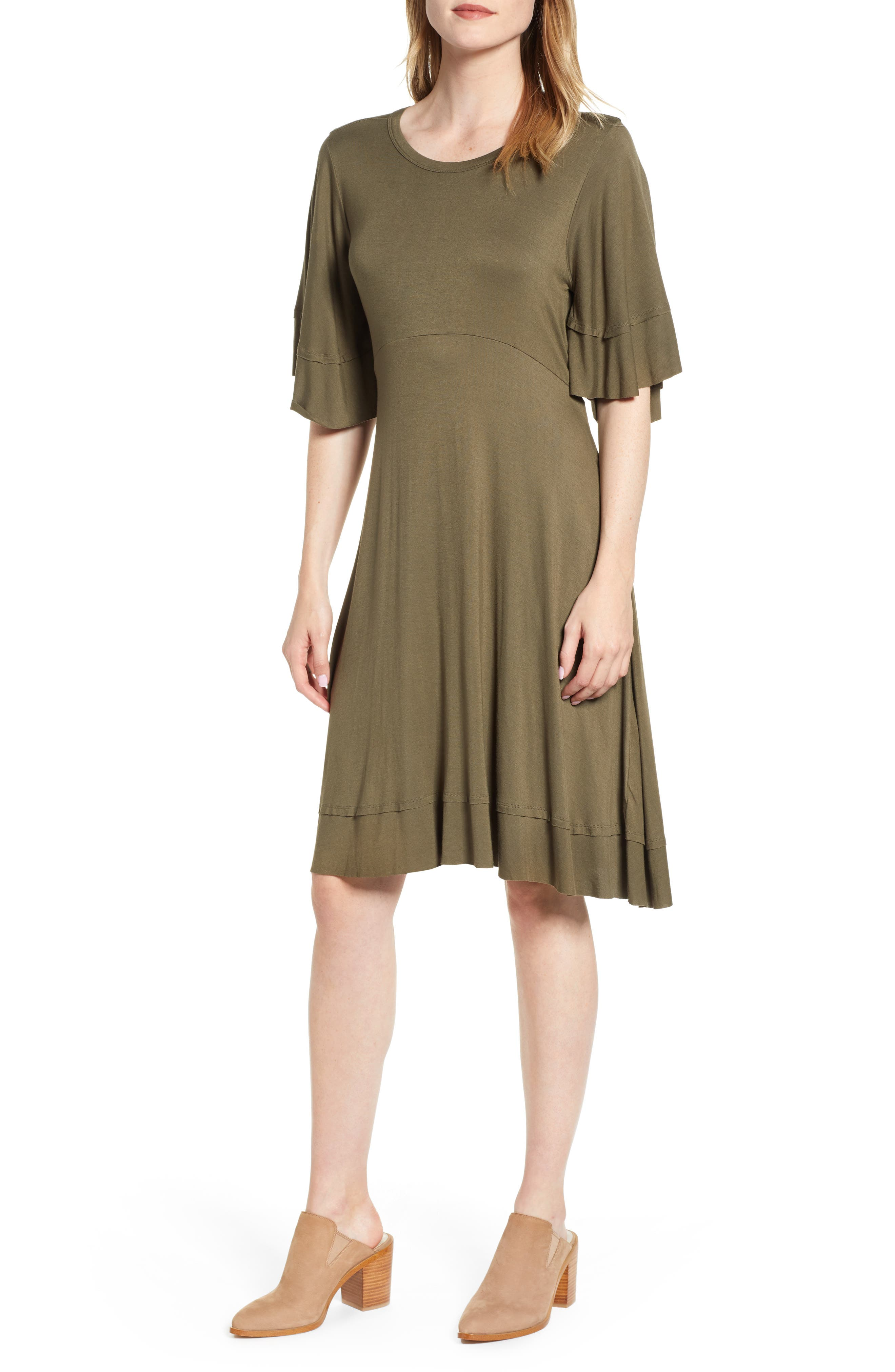 Lucky Brand Ruffle Sleeve Tie Back Dress, Green