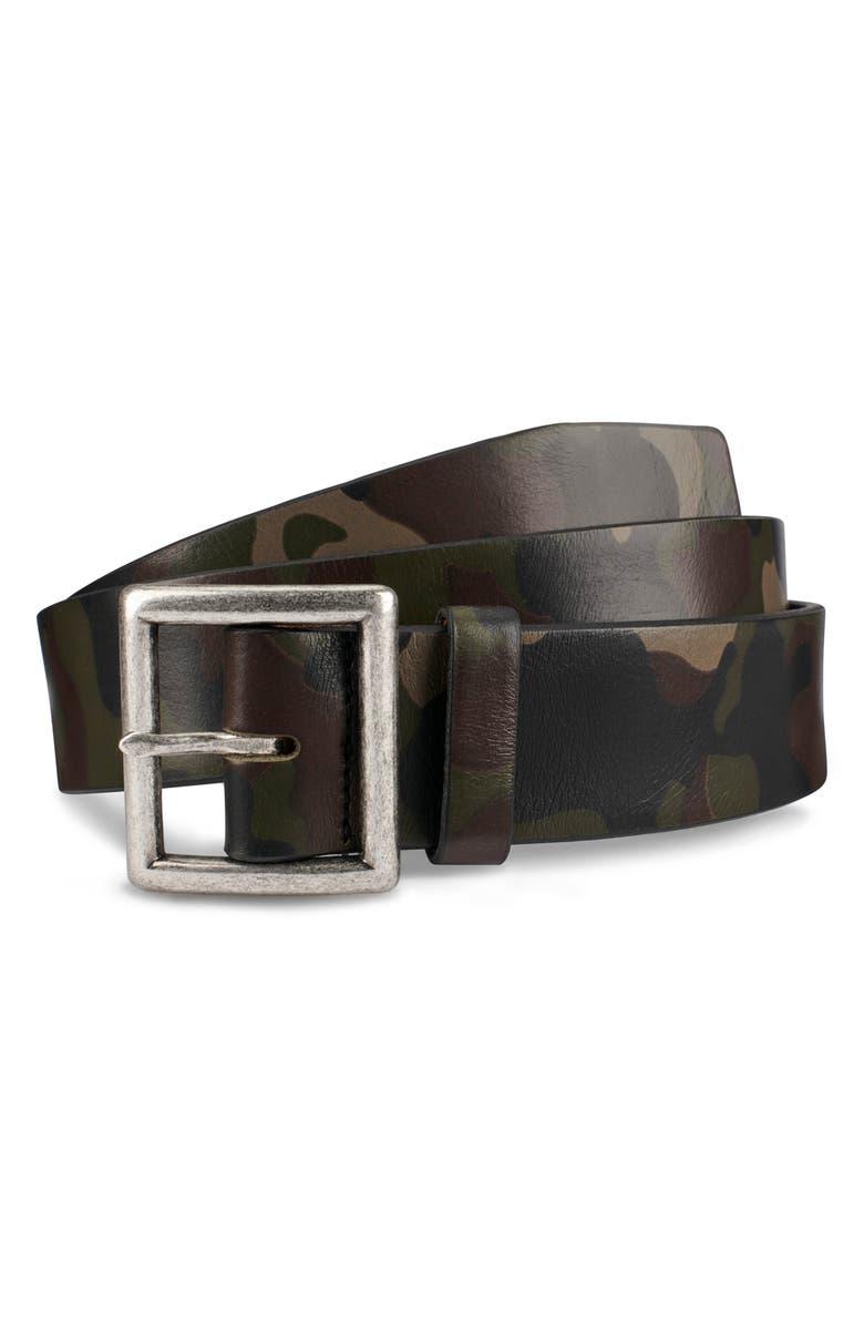 ALLEN EDMONDS Camocliff Avenue Leather Belt, Main, color, DARK CAMOUFLAGE