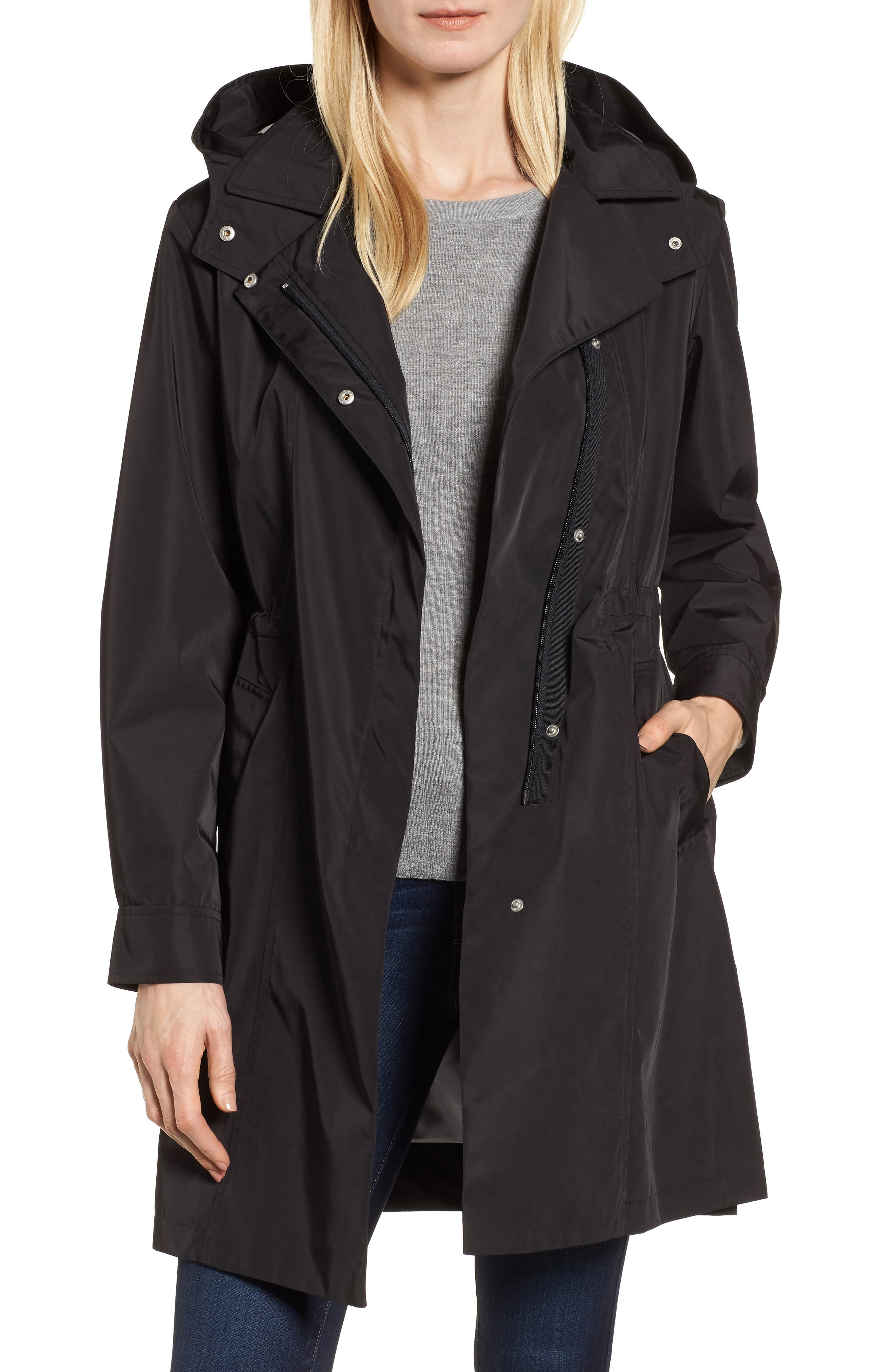 Tech Hooded Trench Coat, Main, color, BLACK