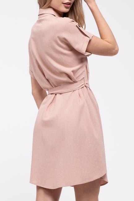 Image of Blu Pepper Short Sleeve Button Front Dress