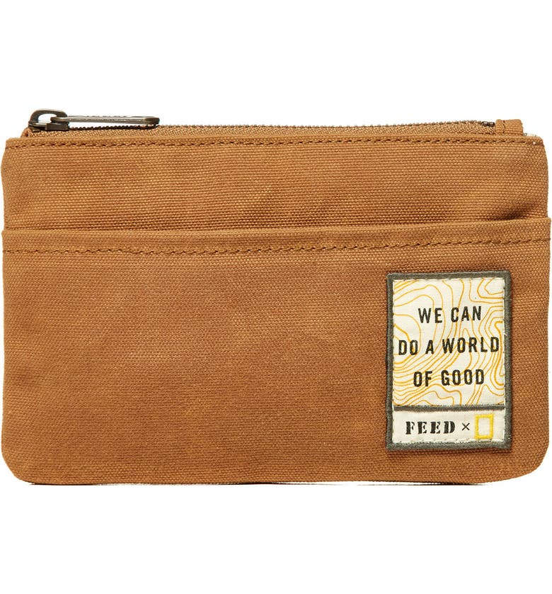 FEED x National Geographic Zip Pouch, Main, color, OCHRE