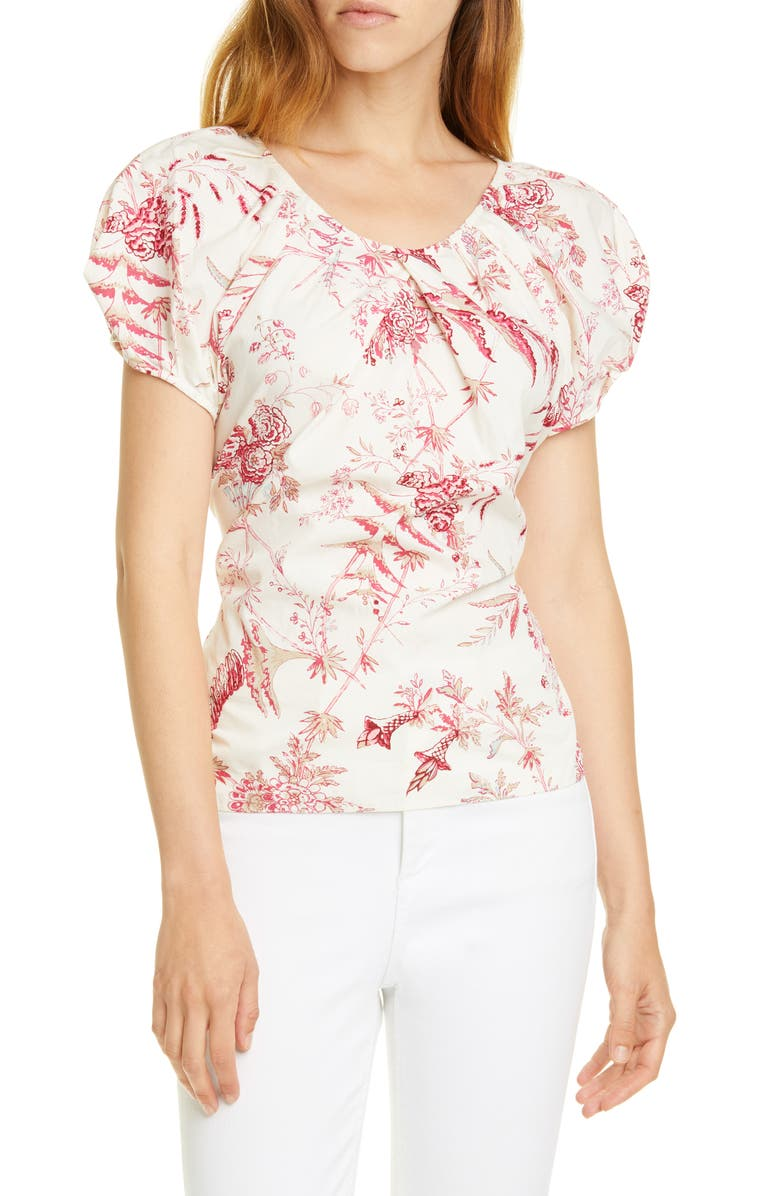 LA VIE REBECCA TAYLOR Averie Back Tie Top, Main, color, RED CURRANT COMBO