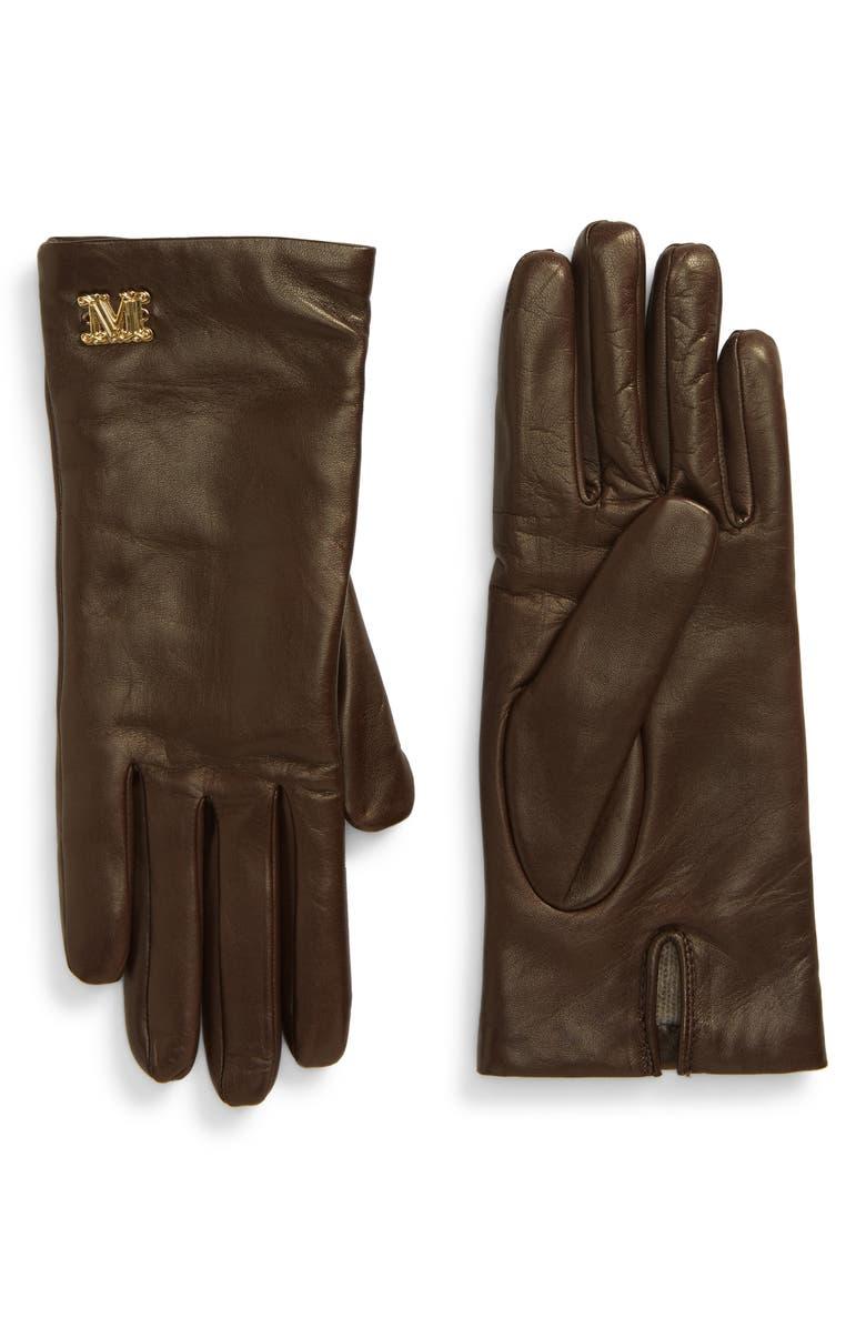 MAX MARA Logo Hardware Leather Gloves, Main, color, DARK BROWN