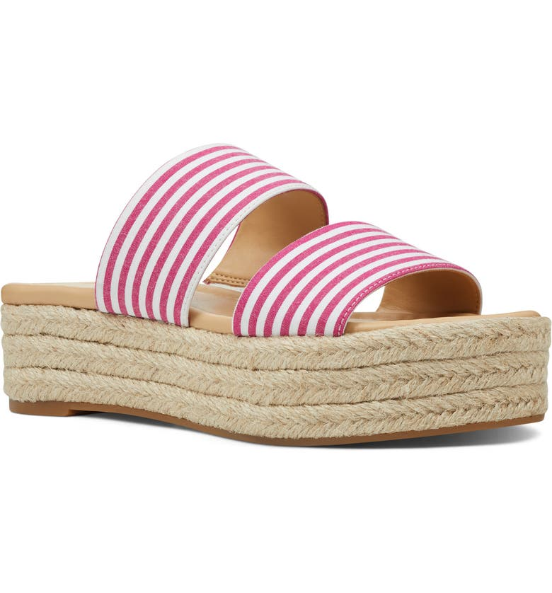 NINE WEST Isabella Platform Slide Sandal, Main, color, FUCHSIA/ WHITE FABRIC