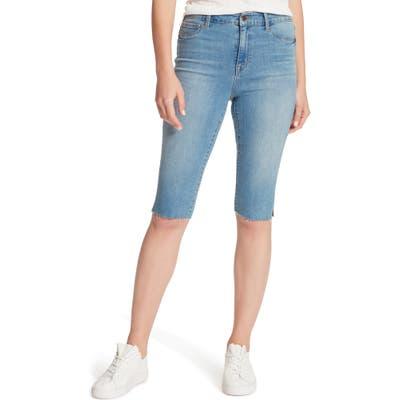 Sanctuary Modern High Waist Skimmer Denim Bermuda Shorts, Blue