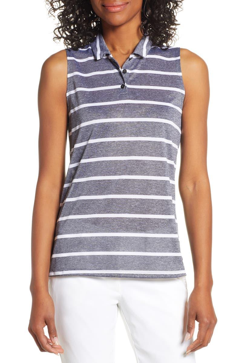 NIKE Dri-FIT Stripe Sleeveless Polo, Main, color, 010