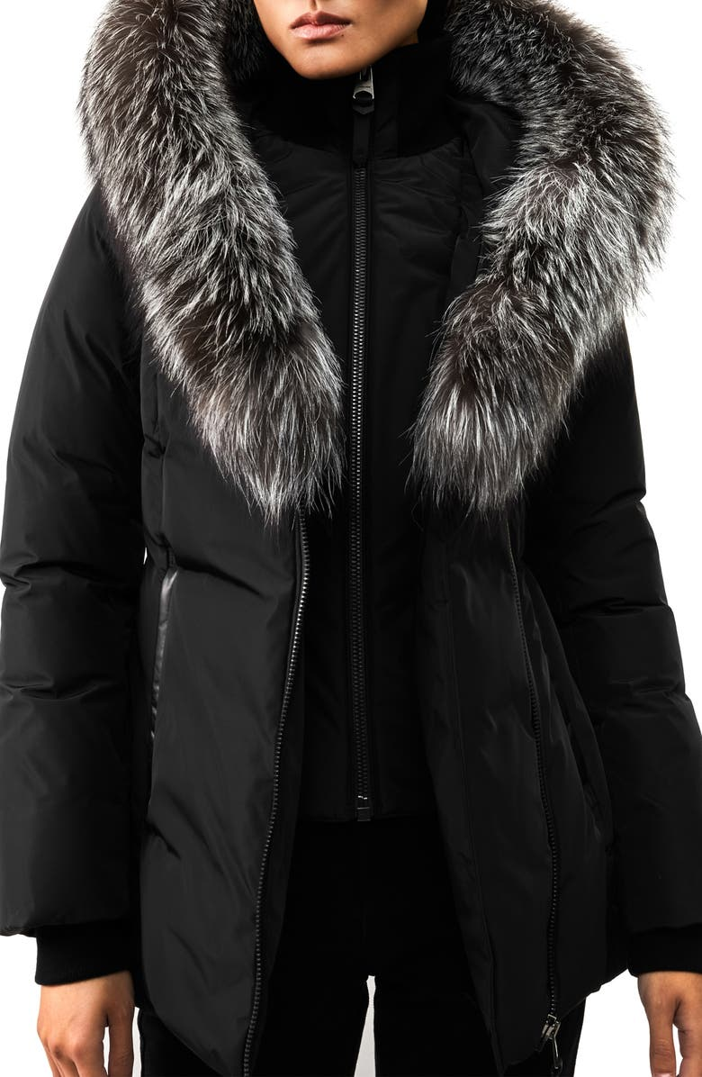 MACKAGE Adali-XR Classic Genuine Fox Fur Trim Water Repellent Down Coat, Main, color, BLACK/ SILVER