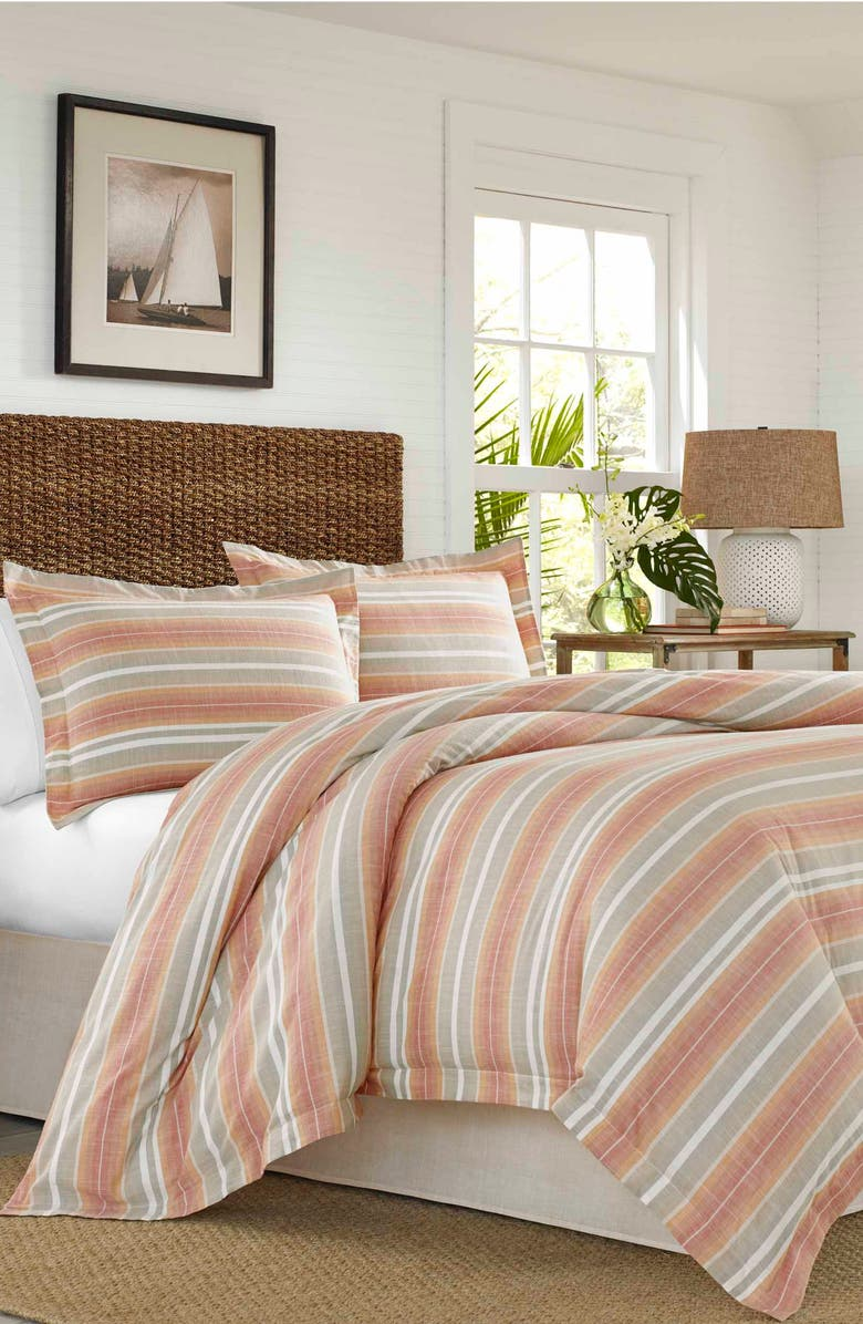 TOMMY BAHAMA Sunrise Stripe Comforter, Sham & Bed Skirt Set, Main, color, BURNT CORAL