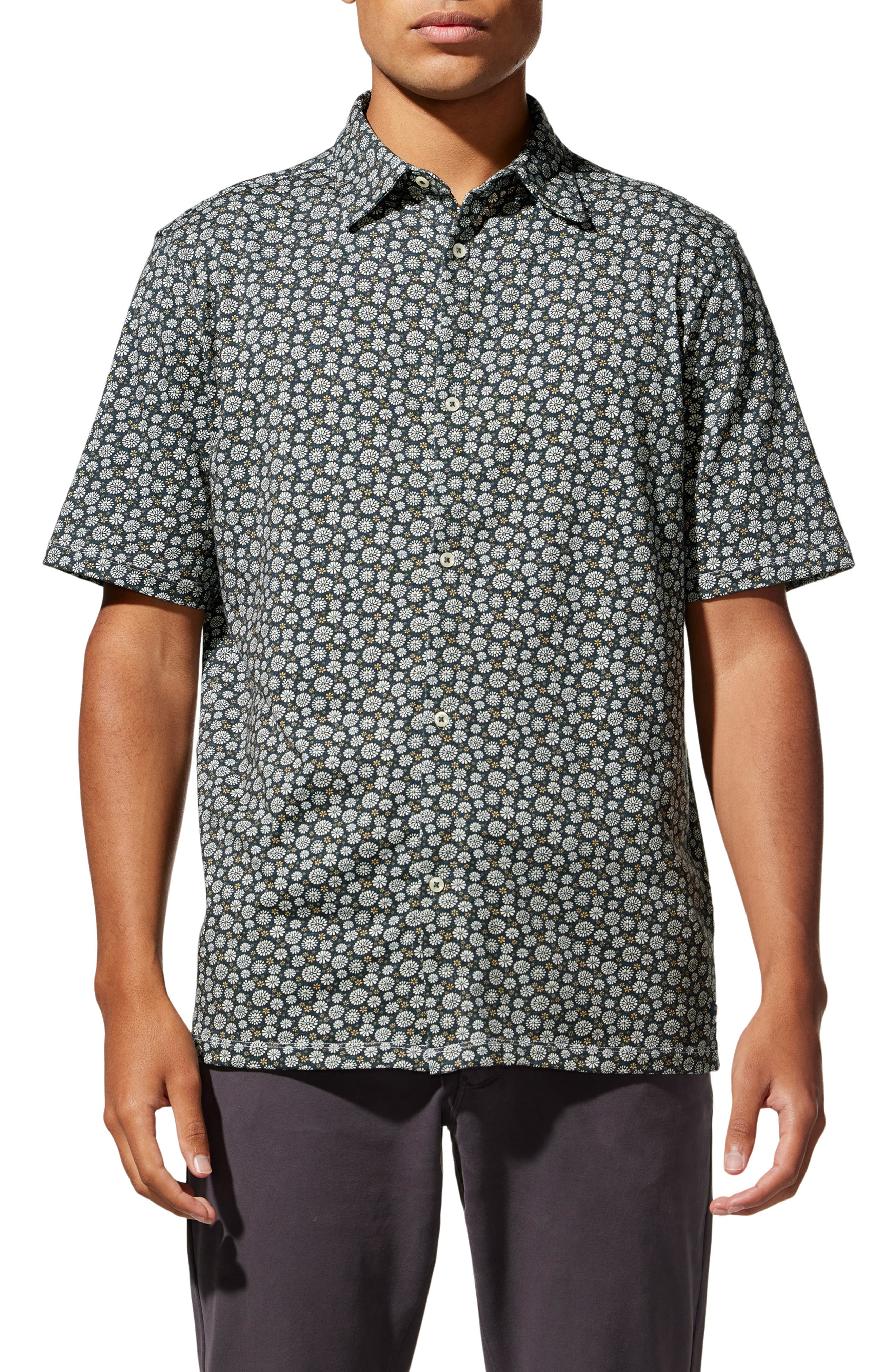 On-Point Floral Short Sleeve Stretch Button-Up Shirt