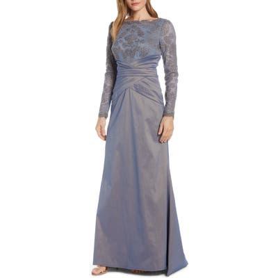 Tadashi Shoji Embroidered Mesh & Taffeta Gown, Grey