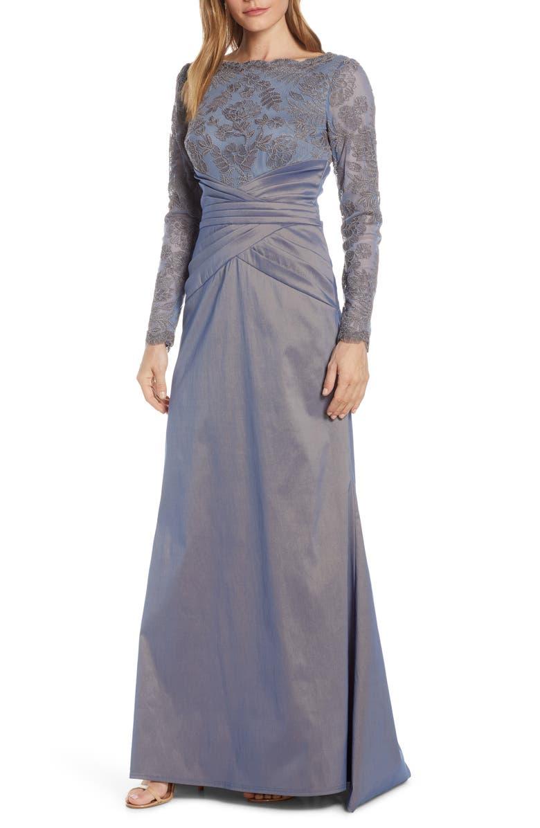 TADASHI SHOJI Embroidered Mesh & Taffeta Gown, Main, color, 020