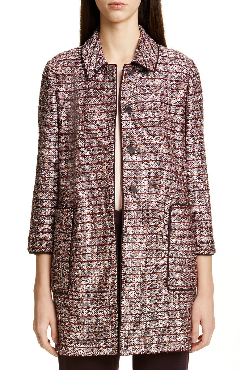 ST. JOHN COLLECTION Multitexture Inlay Knit Jacket, Main, color, CASSIS/ CAVIAR/ PEACH MULTI