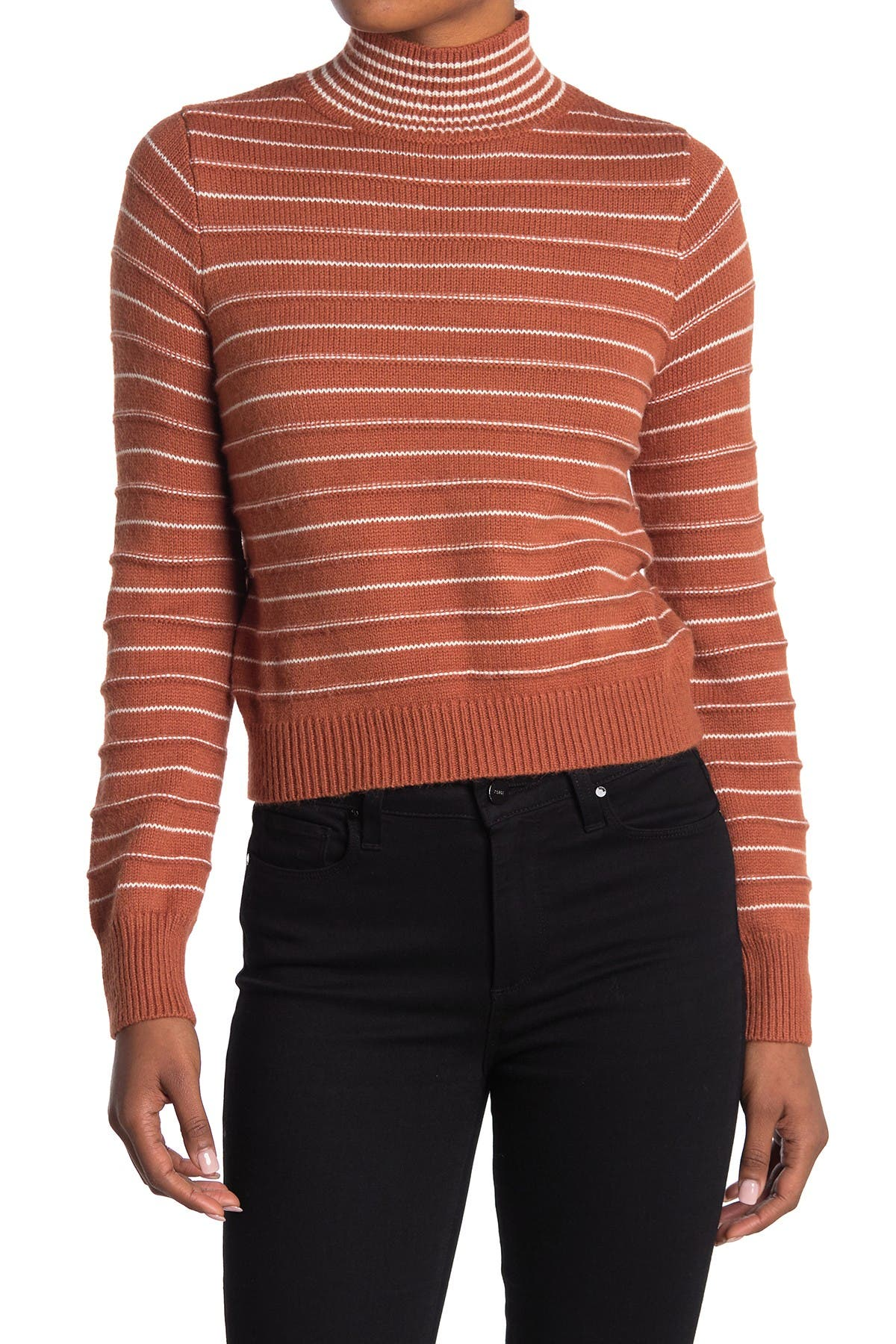 Image of Do + Be Stripe Mock Neck Sweater