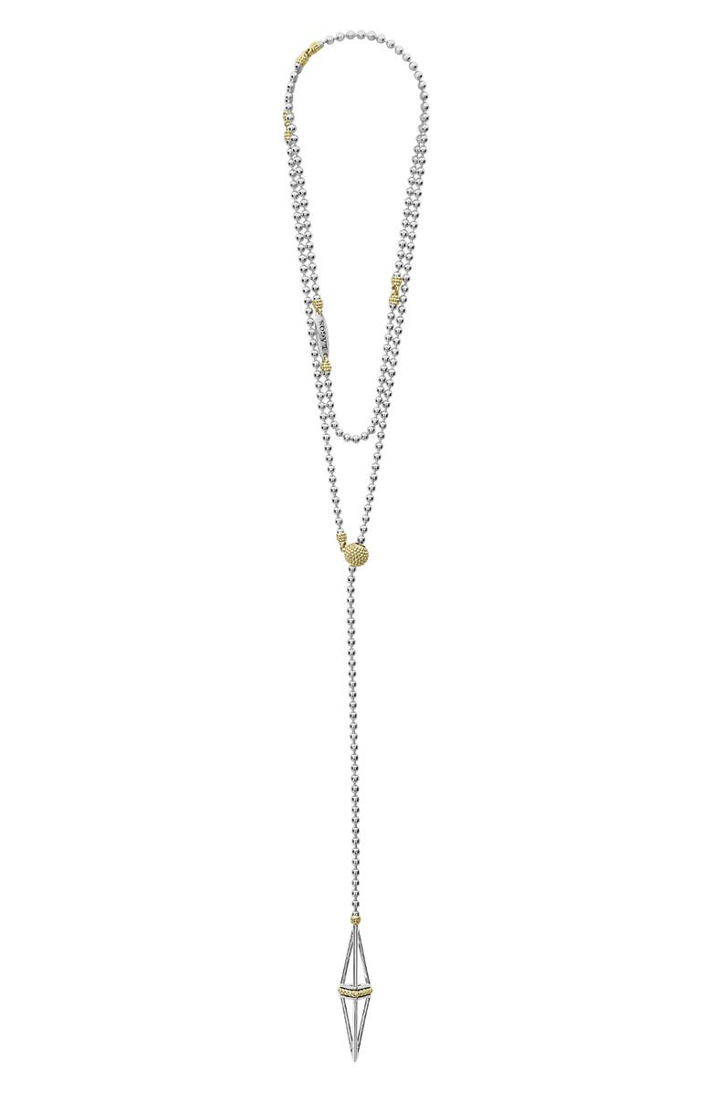 LAGOS KSL Pyramid Lariat Necklace, Main, color, SILVER
