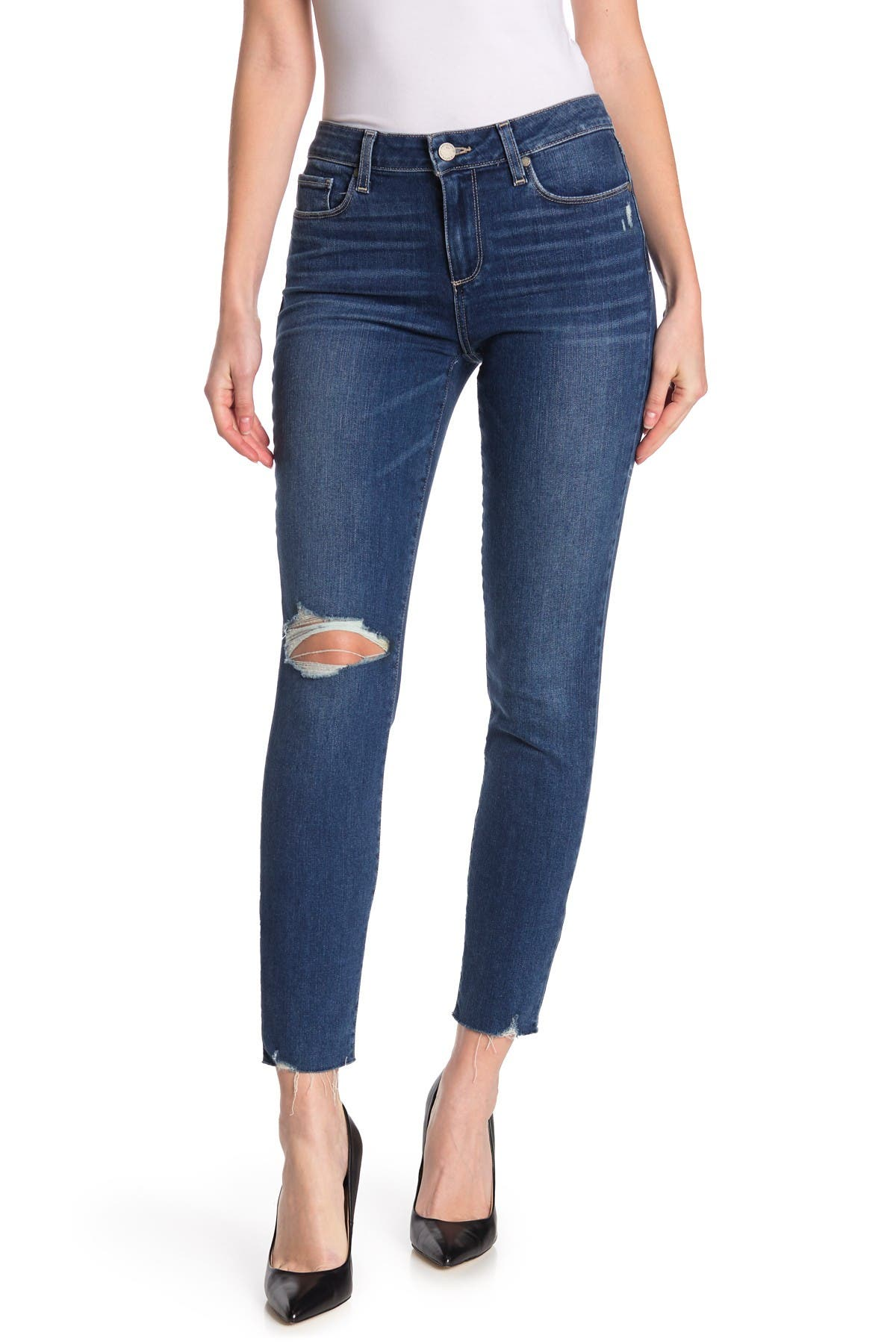 Image of PAIGE Verdugo Distressed Ankle Cut Jeans