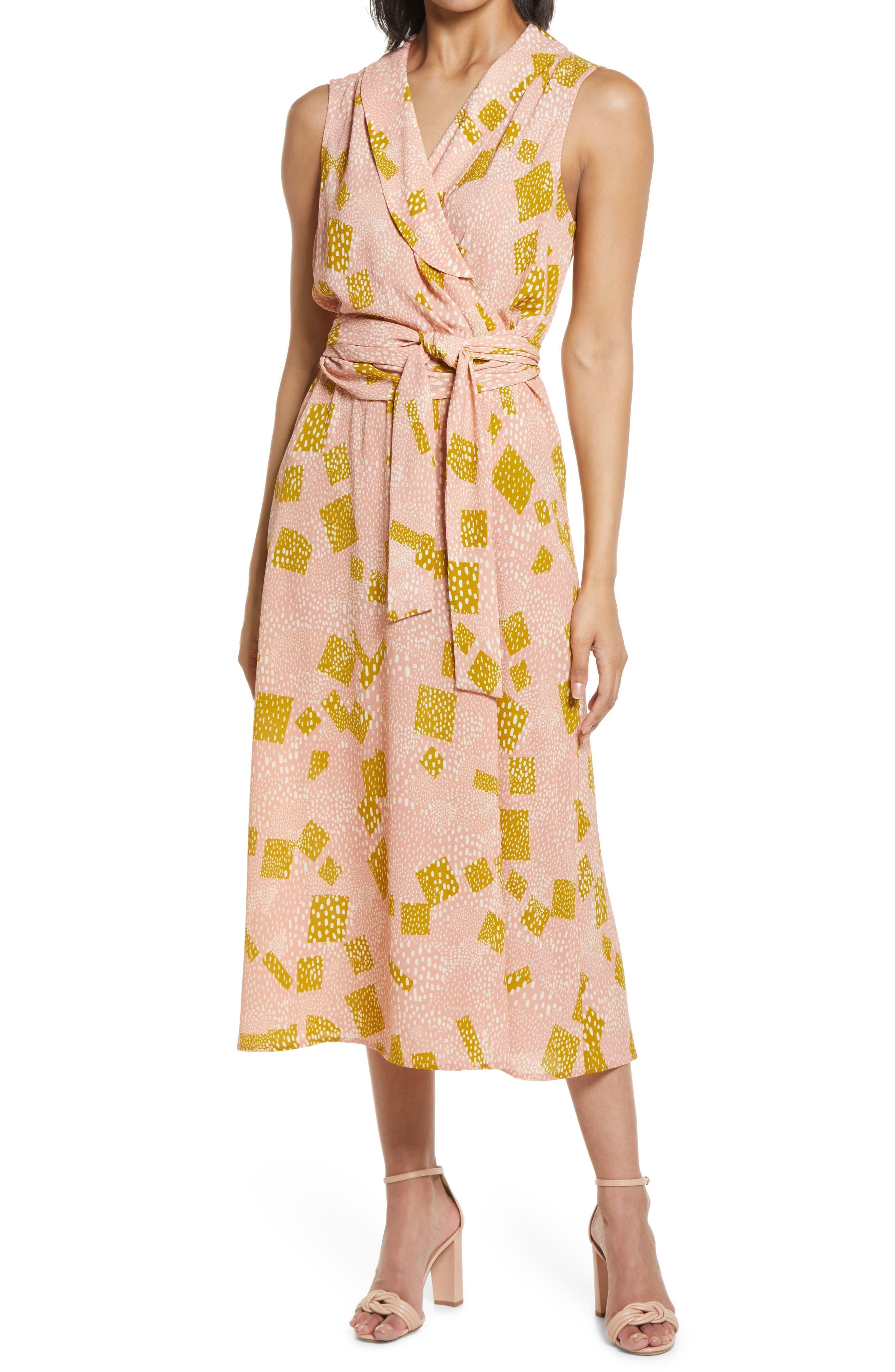 Sleeveless Faux Wrap Midi Dress