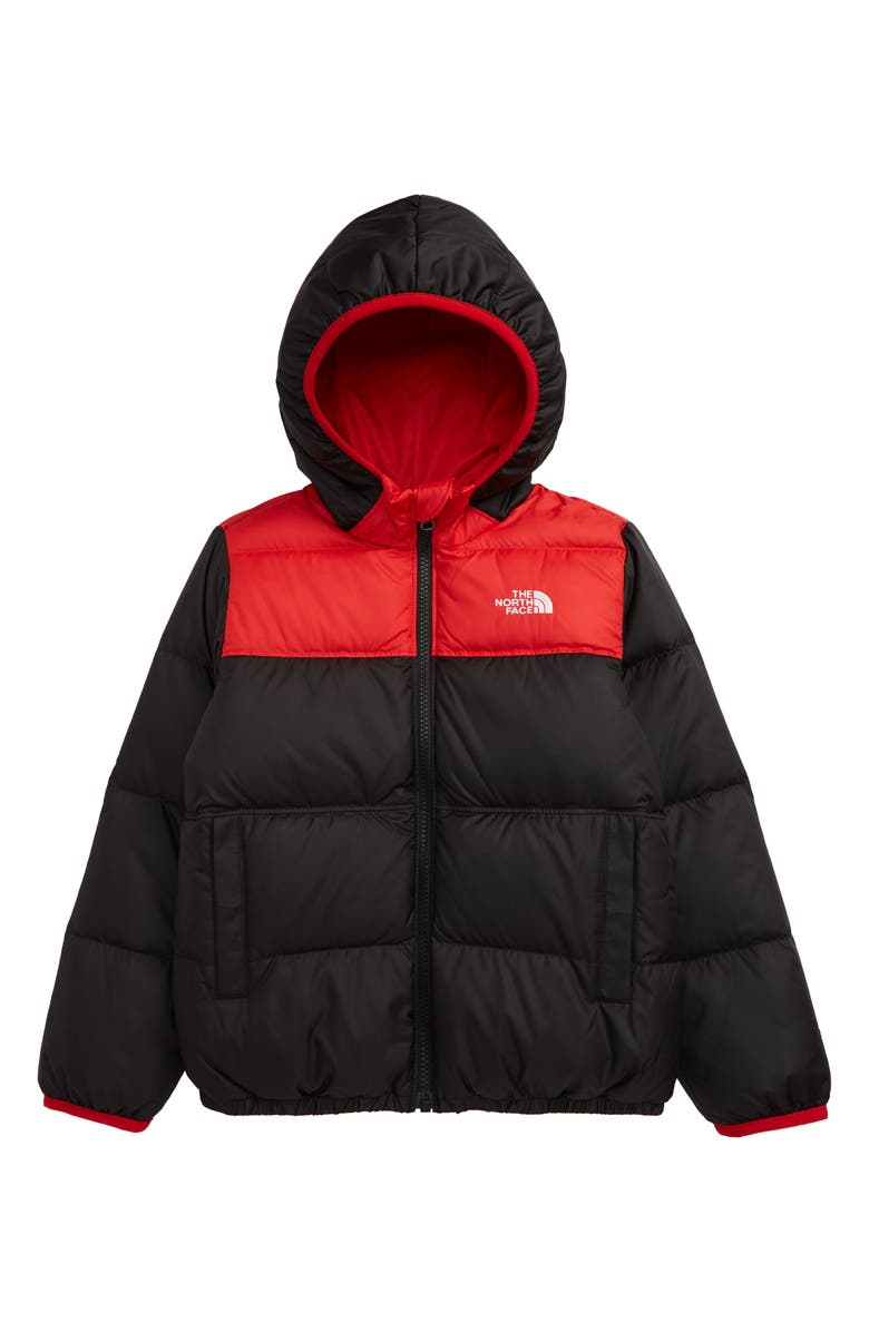 THE NORTH FACE Kids' 'Moondoggy' Water Repellent Reversible Down Jacket, Main, color, TNF BLACK/ TNF RED